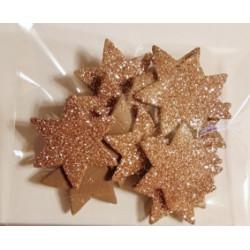 Gwiazdki z mikrogumy brokatowej - złote karmelowe
