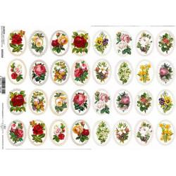 Papier do decoupage ITD 107 - Róże jasno-różowe