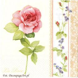 Serwetki do decoupage - róże i niezapominajki na paskach