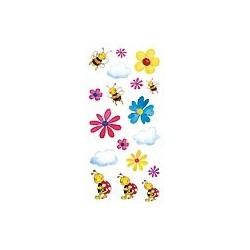 Naklejki 3D 6,5x13,5 cm - pszczółki i kwiatki