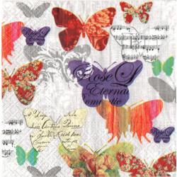 Serwetki do decoupage - motyle i nuty