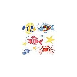Naklejki 3D 10 x 10 cm - ryby, krab i muszle