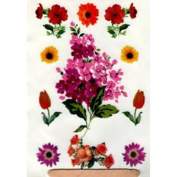 Kalkomania artystyczna kwiaty w fioletach i czerwieniach