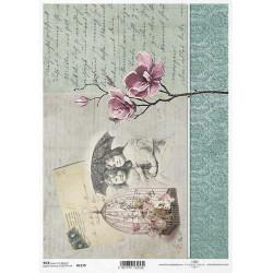 Papier ryżowy ITD Collection 1179 List z przeszłości