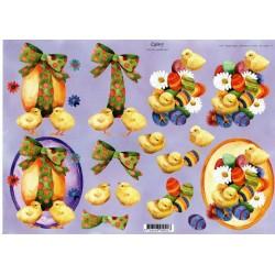 Motywy 3D do dekorowania Quincy 011 - kurczaczki i pisanki