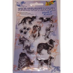 Komplet przezroczystych stempelków - Psy i koty