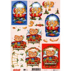 Motywy 3D Boże Narodzenie do dekorowania kartek 088 -misie łóżko