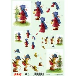 Motywy 3D do dekorowania 085 - chłopiec i dziewczynka
