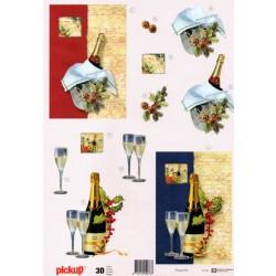 Motywy 3D Boże Narodzenie do dekorowania kartek 045 - Nowy Rok