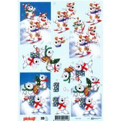 Motywy 3D Boże Narodzenie do dekorowania kartek 083 -misie narty