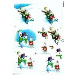 Motywy 3D Boże Narodzenie do dekorowania kartek - bałwanki sanki