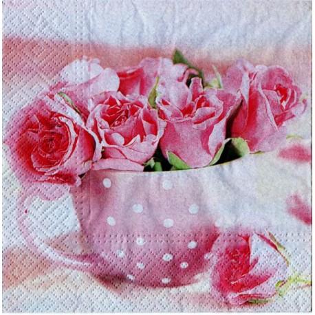 Serwetki do decoupage - róze i prymulki