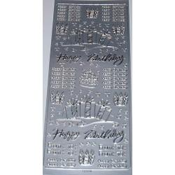 Naklejki samoprzylepne Happy Birthday srebrne