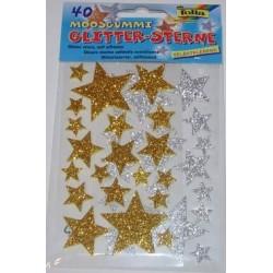 Naklejki brokatowe samoprzylepne gwiazdy złote i srebrne
