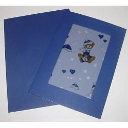 Kartka passe-partout z kalką misie niebieskie