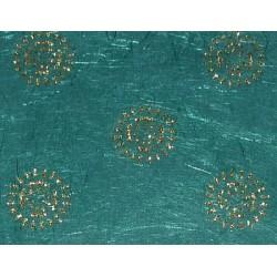 Papier ozdobny z błyszczącymi ozdobami - słoneczniki na zieleni