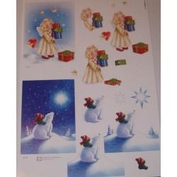 Motywy 3D Boże Narodzenie do dekorowania kartek - biały miś