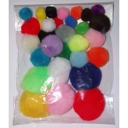 Pompony akrylowe mix 1-5 cm 30 sztuk