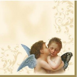 Serwetki do decoupage - Dwa aniołki całuśne na ecru