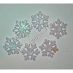 Śnieżynki brokatowe samoprzylepne 6 szt