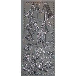 Naklejki samoprzylepne z brokatem Baby srebrne