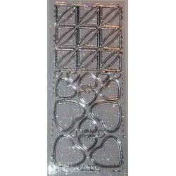 Naklejki samoprzylepne z brokatem serca i kwadraty srebrne