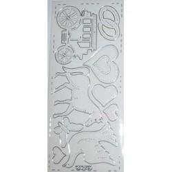 Naklejki samoprzylepne przezroczyste ślubna karoca srebrna