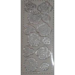 Naklejki samoprzylepne przezroczyste róże i rozetki srebrne
