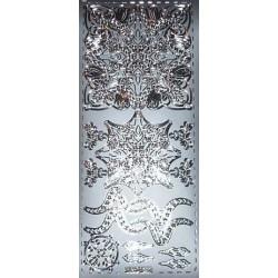 Naklejki samoprzylepne ornament kwadrat, rozetka srebrny