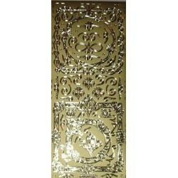 Naklejki samoprzylepne ornamenty owalne w kwadratach złote