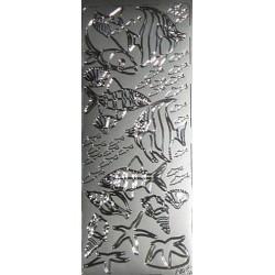 Naklejki samoprzylepne rybki srebrne