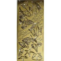 Naklejki samoprzylepne rybki złoto