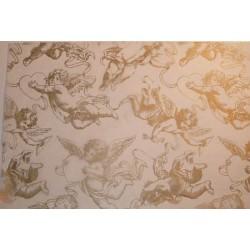 Bibułka z nadrukiem gładka, satynowana - gold cherubs