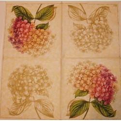 Serwetki do decoupage - hortensje różowe i mono