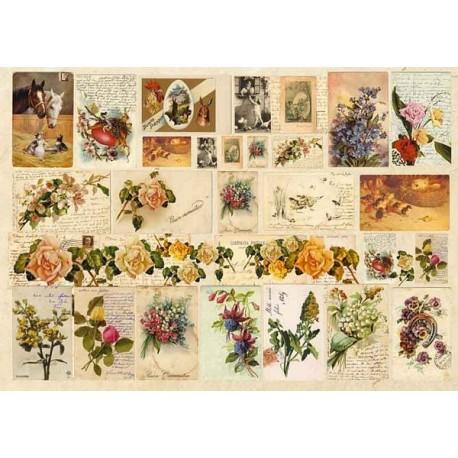 Papier do decoupage Enjoy 50 x 70 cm - Kwiaty i listy 010009