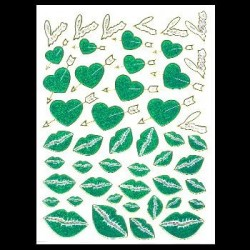 Naklejka (sticker) - Green heart and Kiss