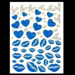 Naklejka (sticker) - Blue heart and Kiss