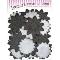 Zestaw papierowych kwiatków (20 szt.) czarne z białym