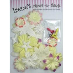 Zestaw papierowych kwiatków (18) + ćwieki (6) jasno-żółte
