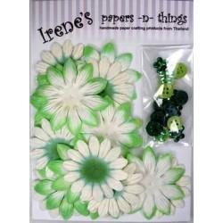Zestaw papierowych kwiatków (20+10+10) białe z zielonym