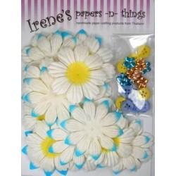 Zestaw papierowych kwiatków (20+10+10) białe z błękitem