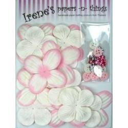 Zestaw papierowych kwiatków (20+10+10) białe z różem