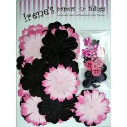 Zestaw papierowych kwiatków (20+10+10) czarno-różowe