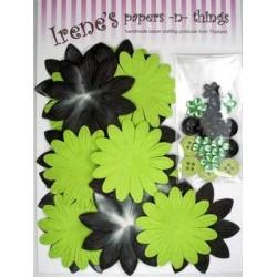 Zestaw papierowych kwiatków (20+10+10) czarno-zielone