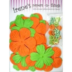 Zestaw papierowych kwiatków (20+10+10) pomrańczowo-zielone