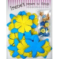 Zestaw papierowych kwiatków (20+10+10) błękitno-żółte