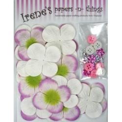 Zestaw papierowych kwiatków (20+10+10) białe z różem i zielenią
