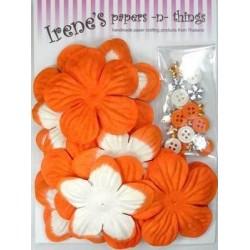 Zestaw papierowych kwiatków (20+10+10) pomarańczowe z białymi