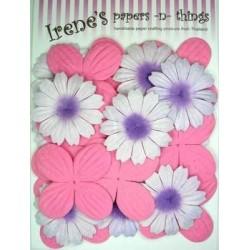 Zestaw papierowych kwiatków (20 szt.) różowe z biało-fioletowymi