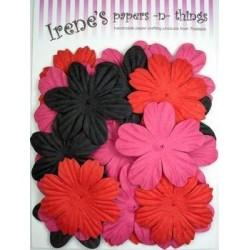 Zestaw papierowych kwiatków (20 szt.) czarne, czerwone i różowe